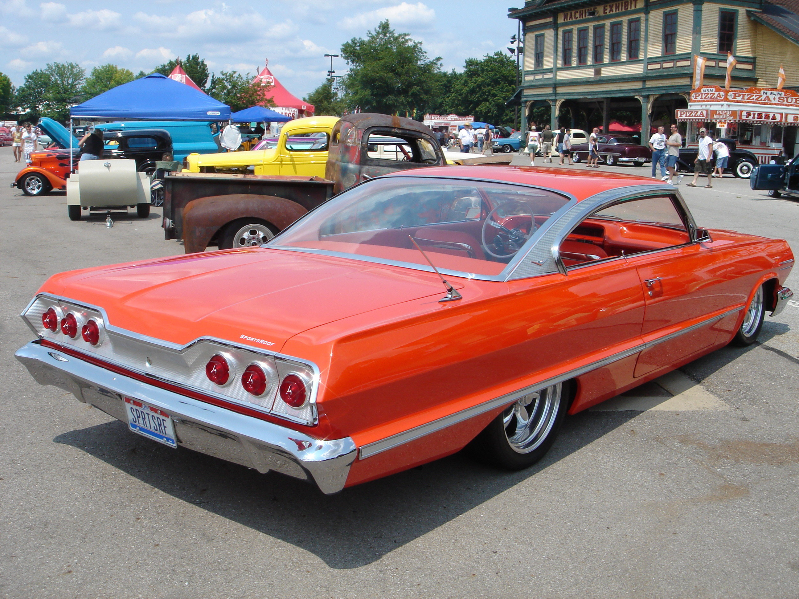 custom orange 1963 impala ss with heavy modifications. Black Bedroom Furniture Sets. Home Design Ideas