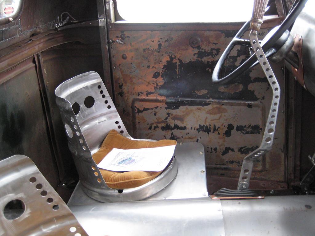Minimalist interior with these custom beer keg seats