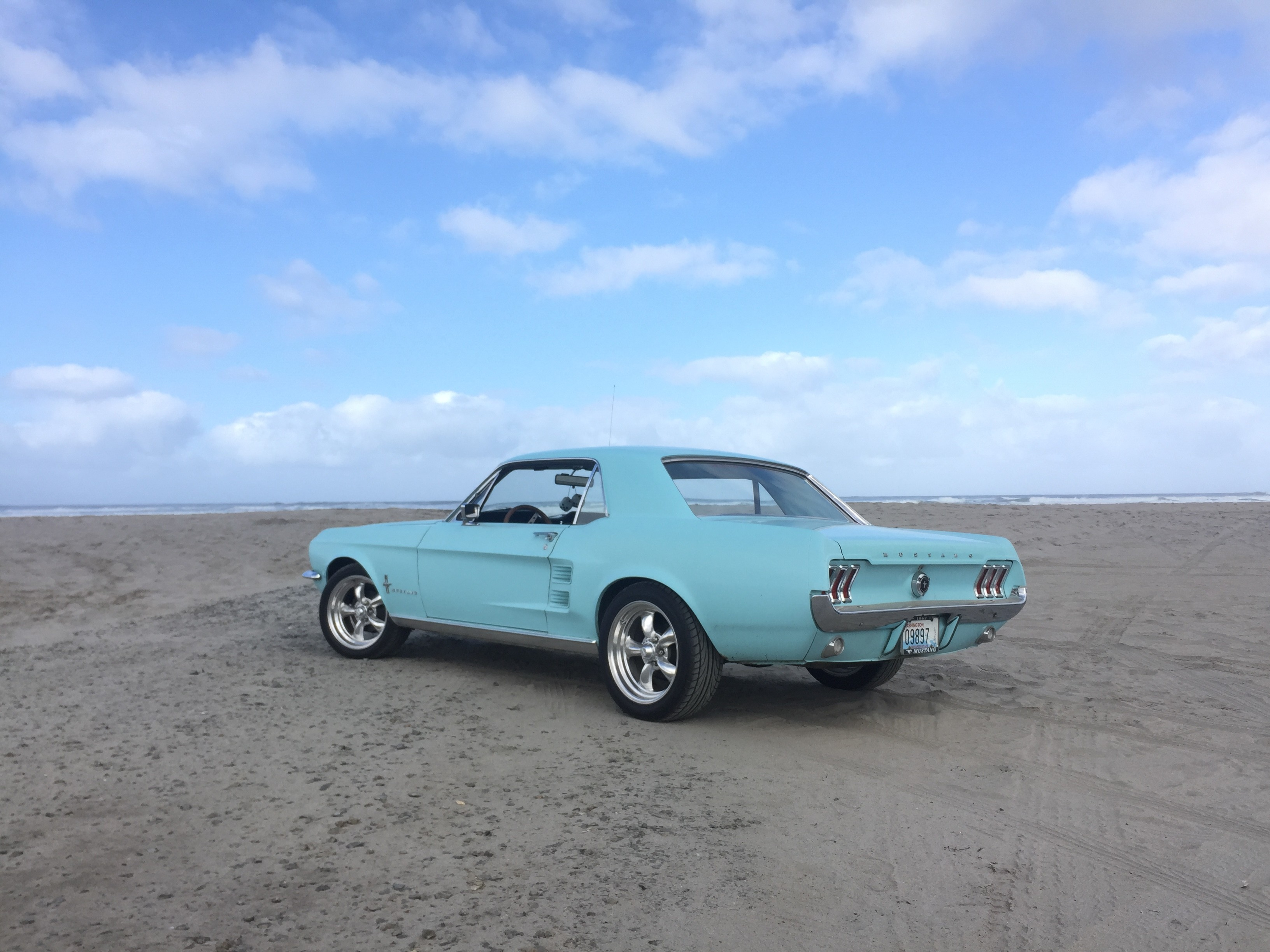 My '67 Mustang on the beach at Long Beach, Wa