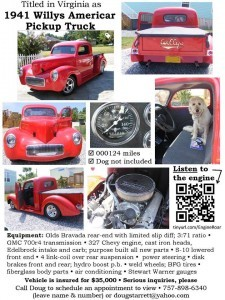 1941 Willys Americar Pickup (VA) -$39,900